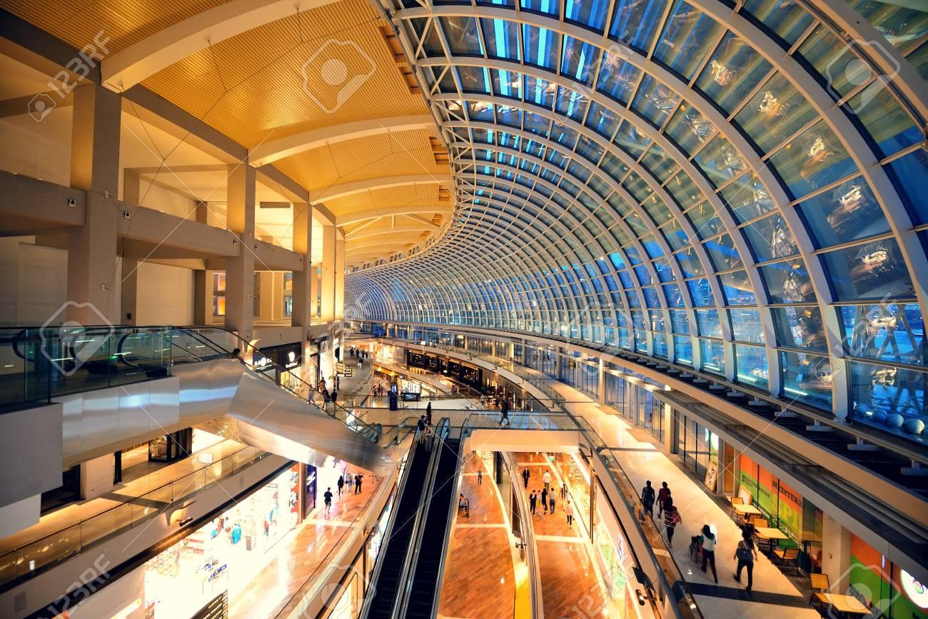SINGAPORE - APR 5: Marina Bay Sands Hotel Interior On April 5 ...