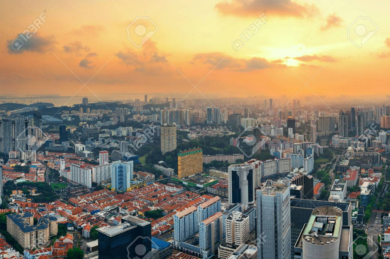 Singapore rooftop view with urban skyscrapers at sunset. - 46849184