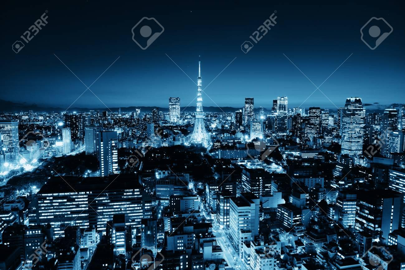 Torre De Tokio Y El Horizonte De Vista De La Terraza Urbana En La Noche Japón