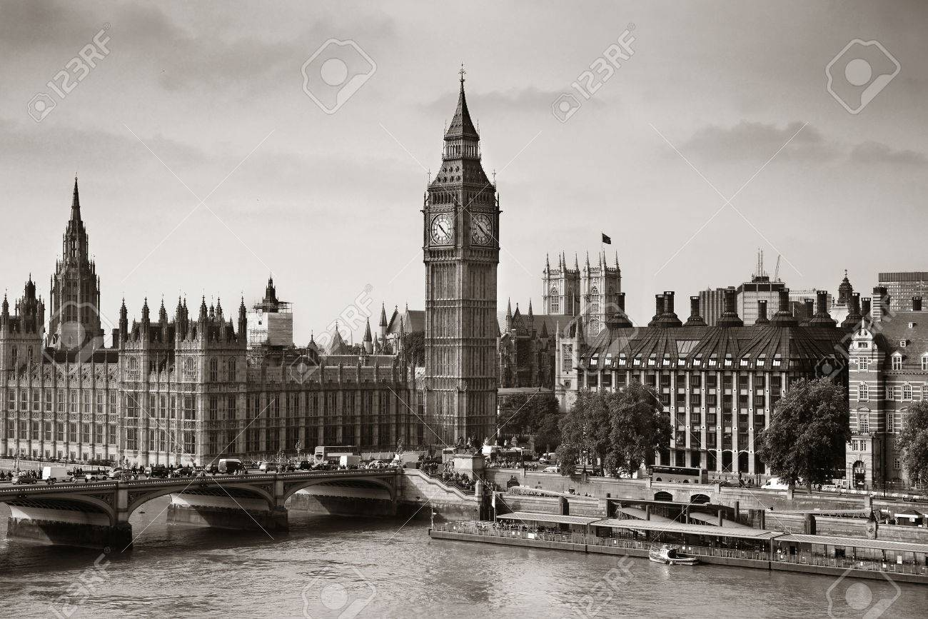 London Westminster with Big Ben and bridge. - 46872986
