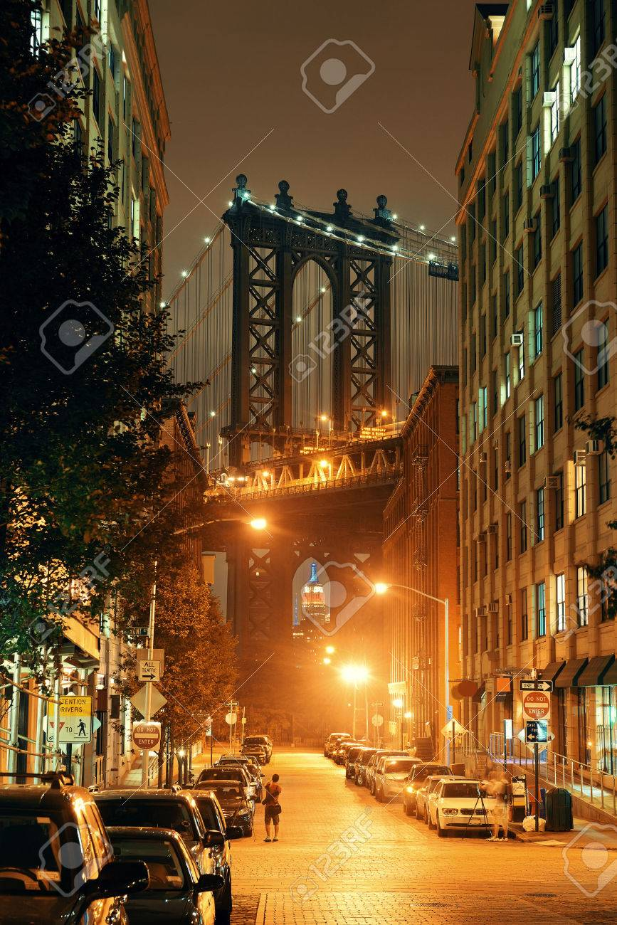 Manhattan Bridge viewed from street at night - 51311040