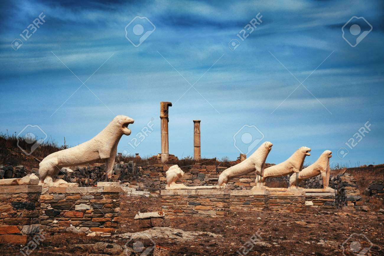 Terrace of the Lions in Historical Ruins in Delos Island near Mikonos, Greece. - 100214201