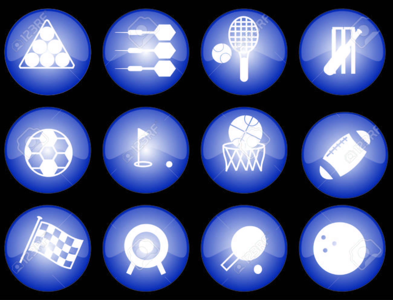 Assorted blue-glazed sports icons and buttons Stock Vector - 2496688
