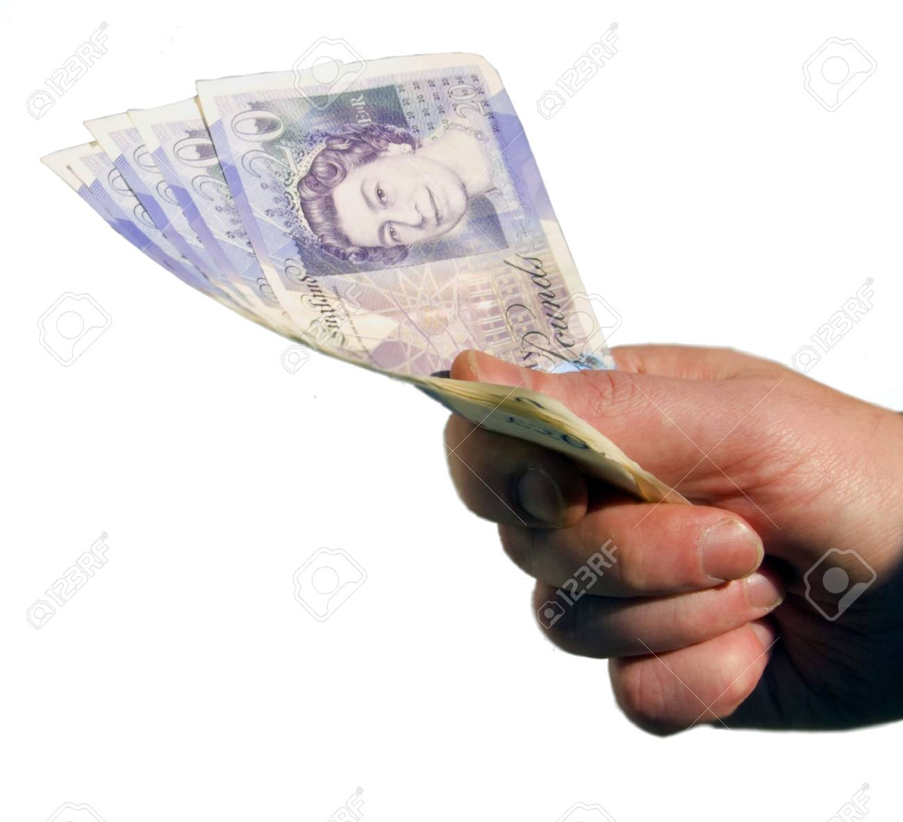 Isolated hand holding bank notes Stock Photo - 2506872