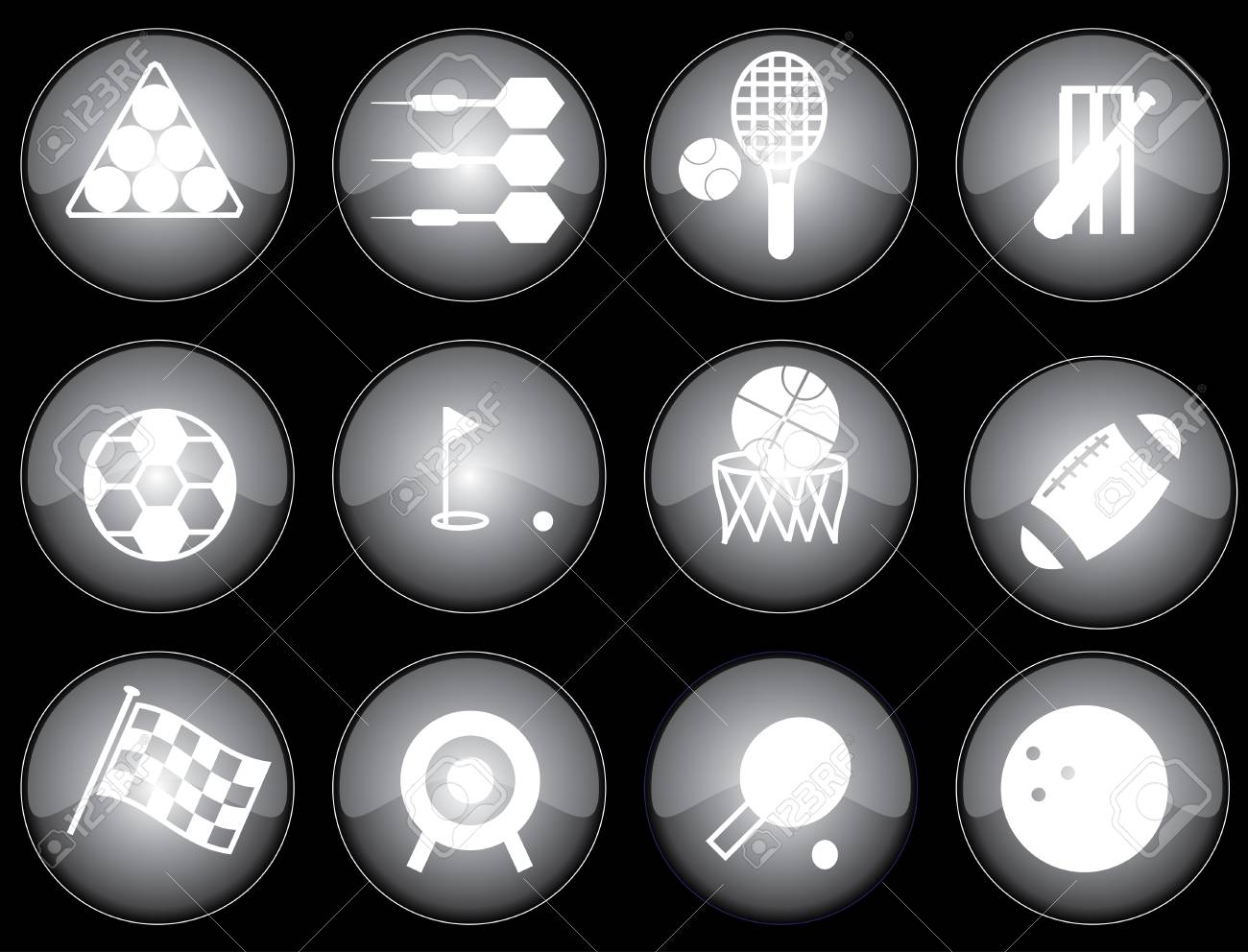 Assorted black-glazed sports icons and buttons Stock Vector - 2549419