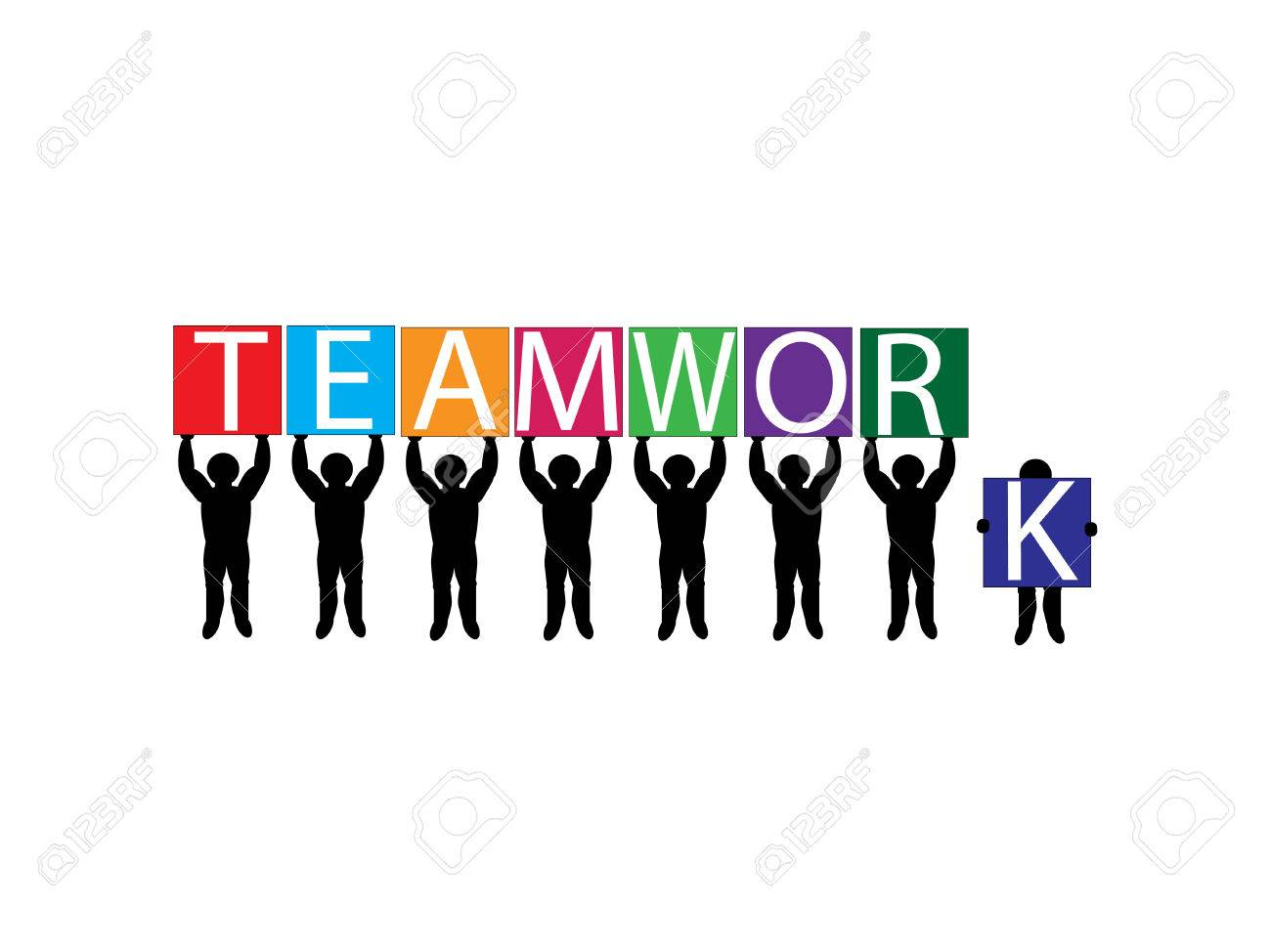 Vector image of team holding up letter placards Stock Vector - 2576369
