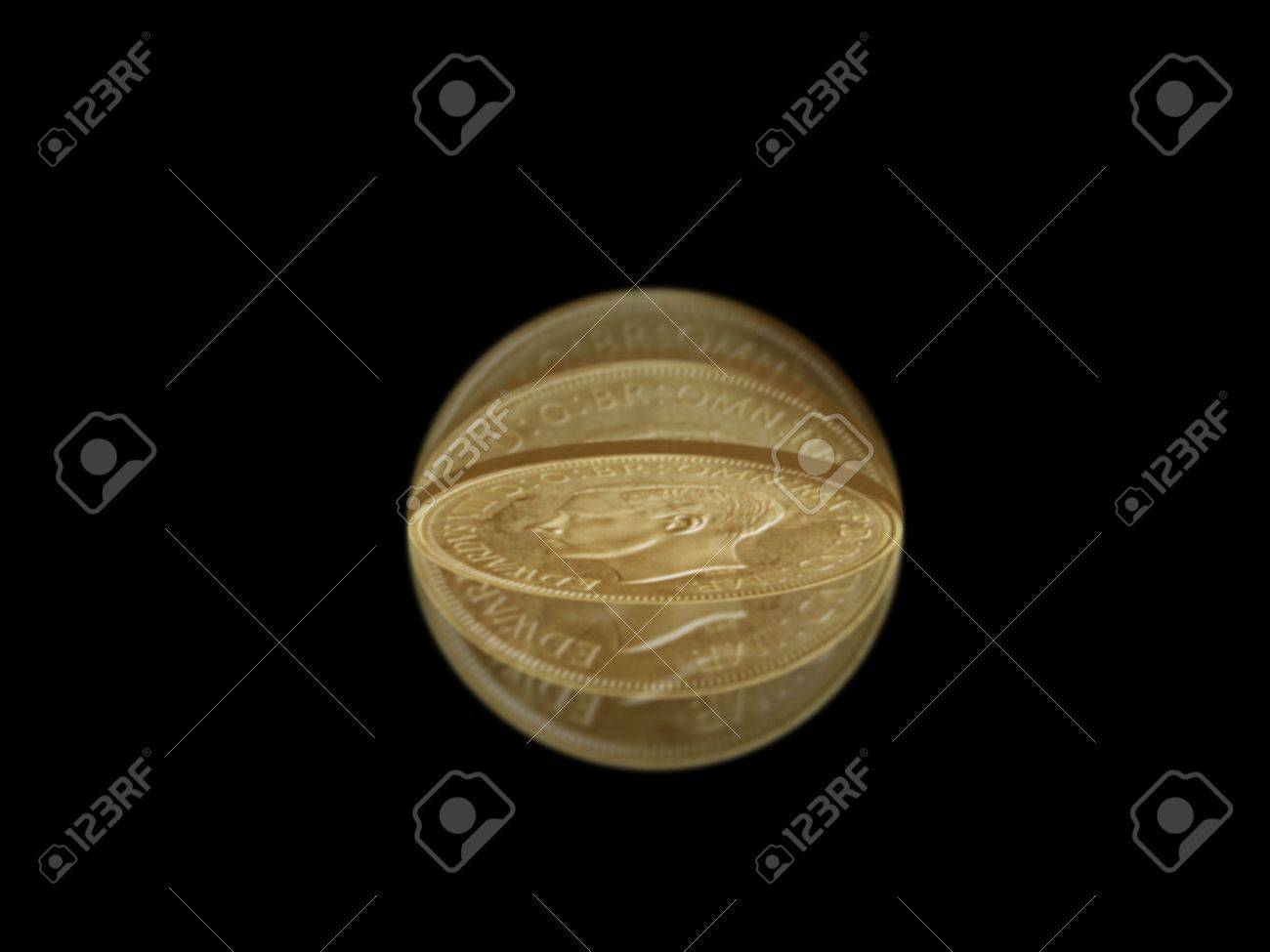 Flipped coin isolated in motion against a black background Stock Photo - 2584500