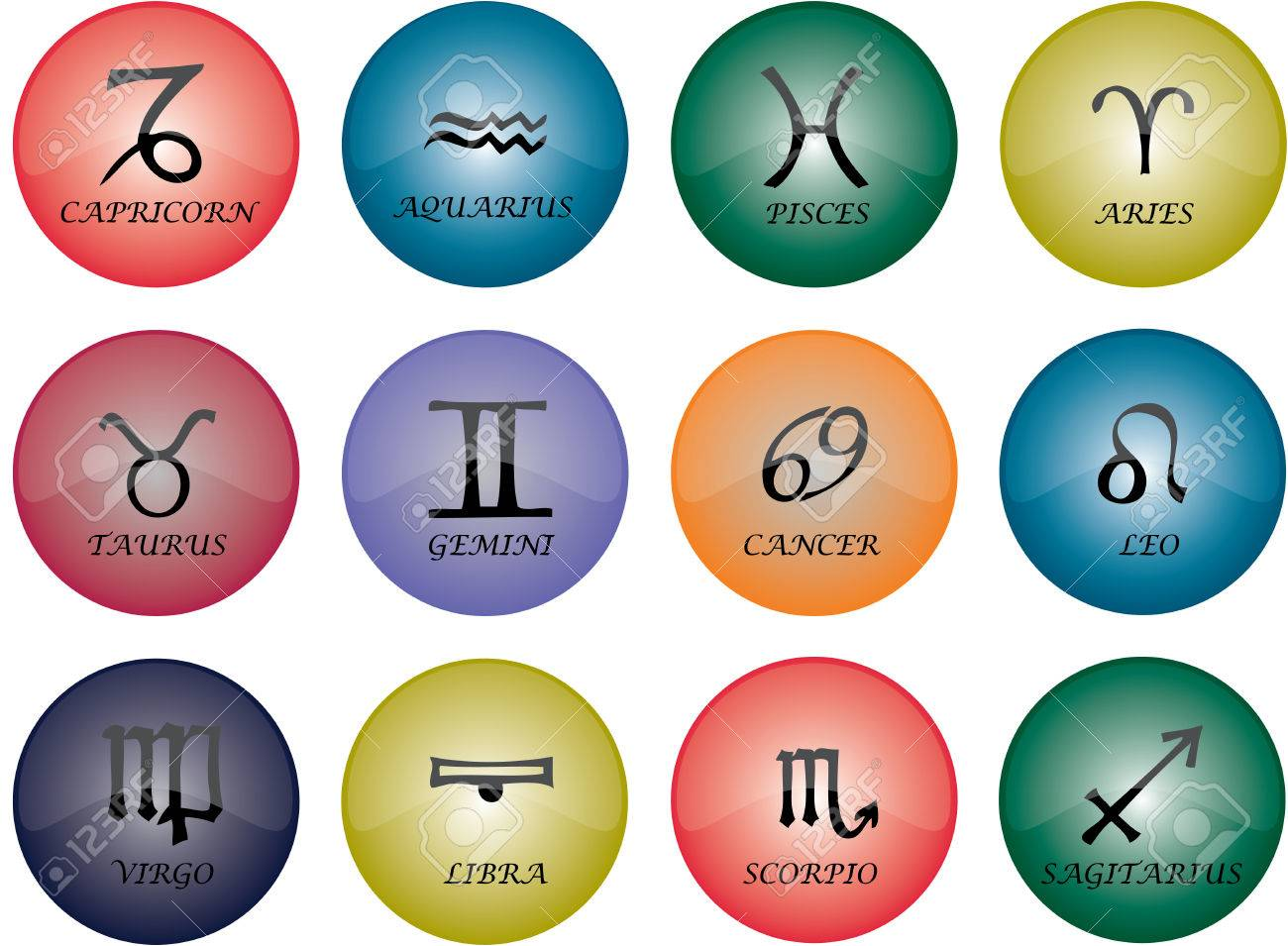 Vector graphic of buttons - zodiac signs with multicoloured glaze Stock Vector - 2614453