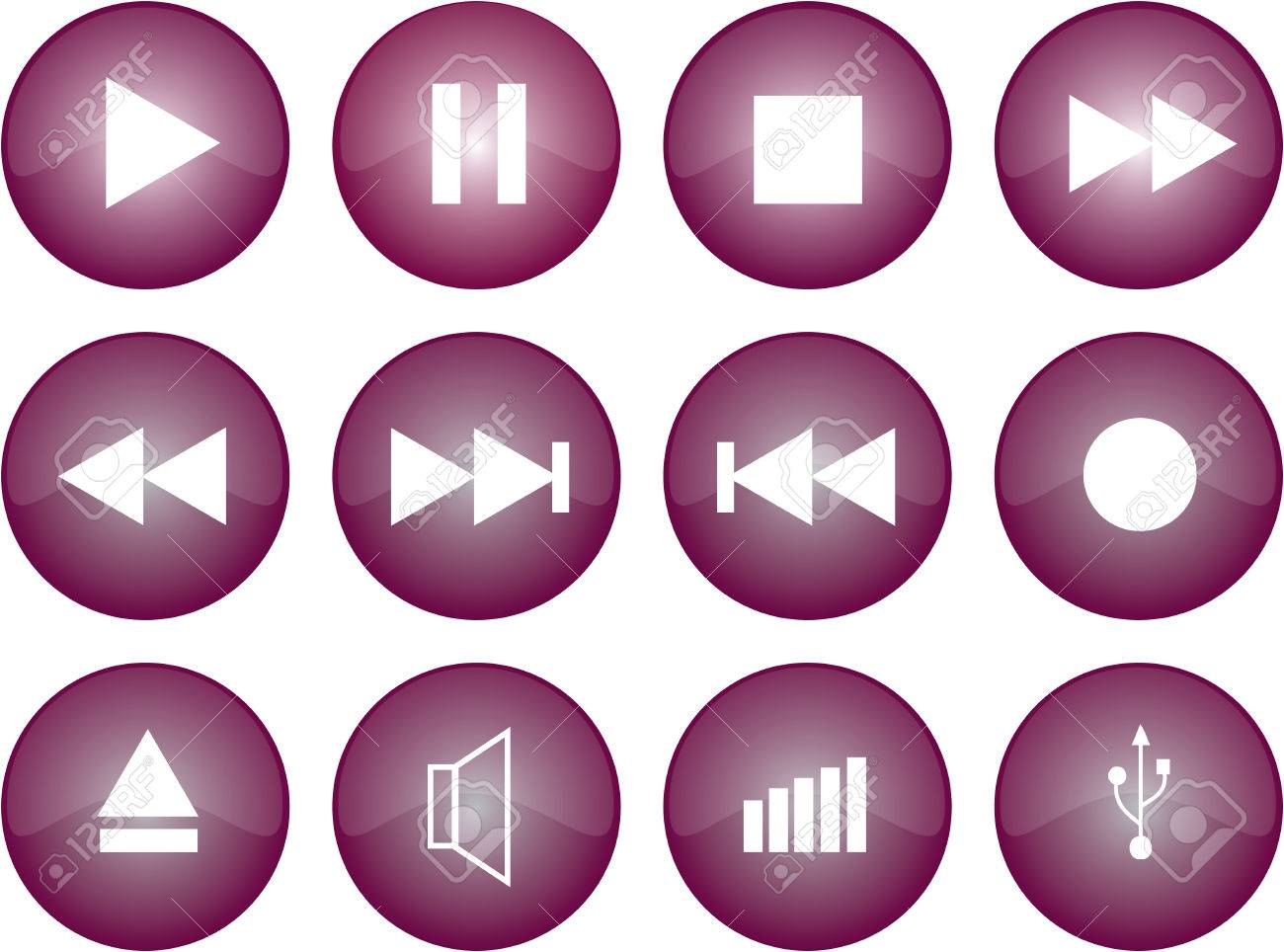 Vector graphic of stereo buttons with purple glaze Stock Vector - 2614450