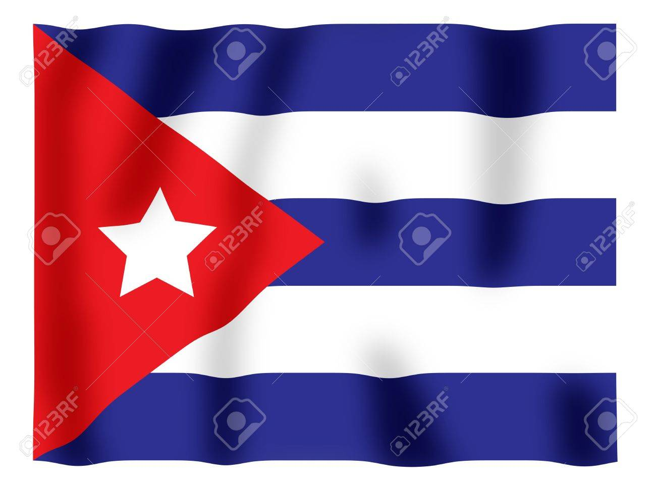 Fluttering image of the Cuban national flag Stock Photo - 2614445