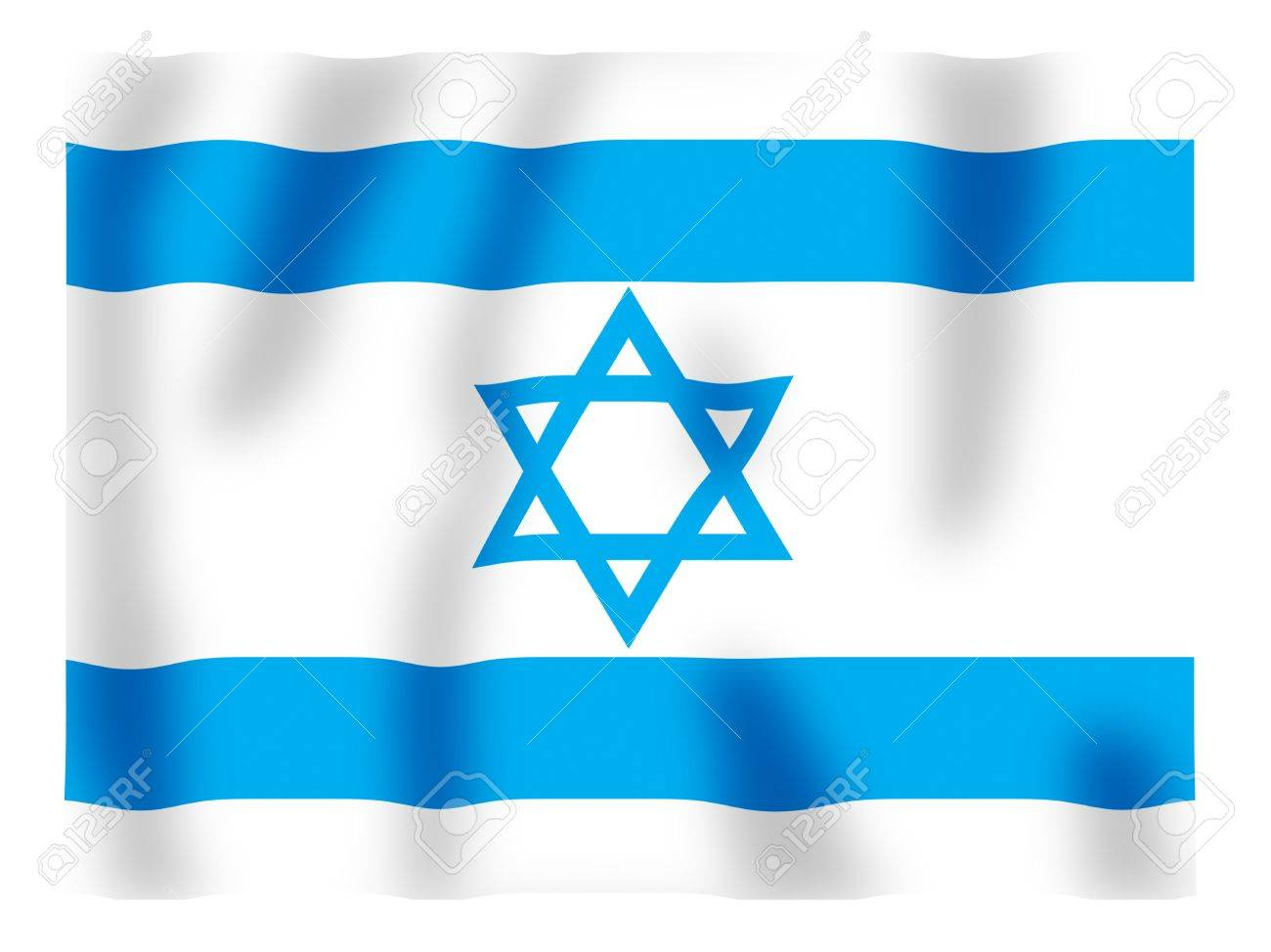 Fluttering image of the Israeli national flag Stock Photo - 2614446