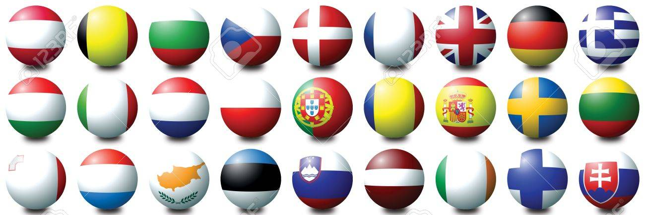 27 coloured balls representing the 27 nations of the European Union Stock Photo - 2681594