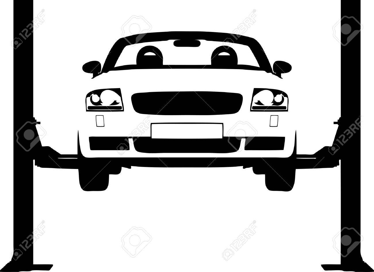 Vector illustration of a car on a hydraulic ramp Stock Vector - 2753051