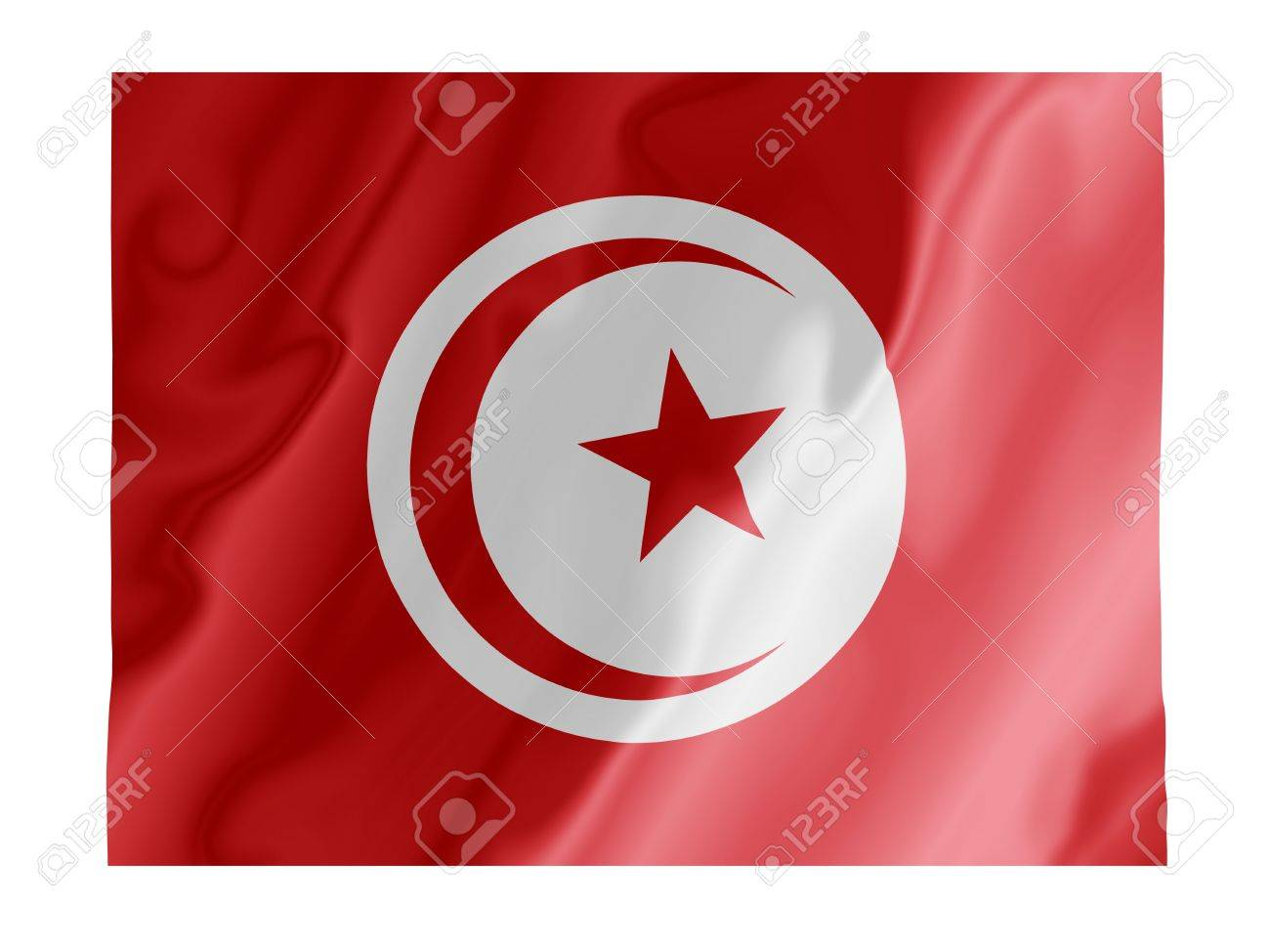Fluttering image of the Tunisian national flag Stock Photo - 2808476
