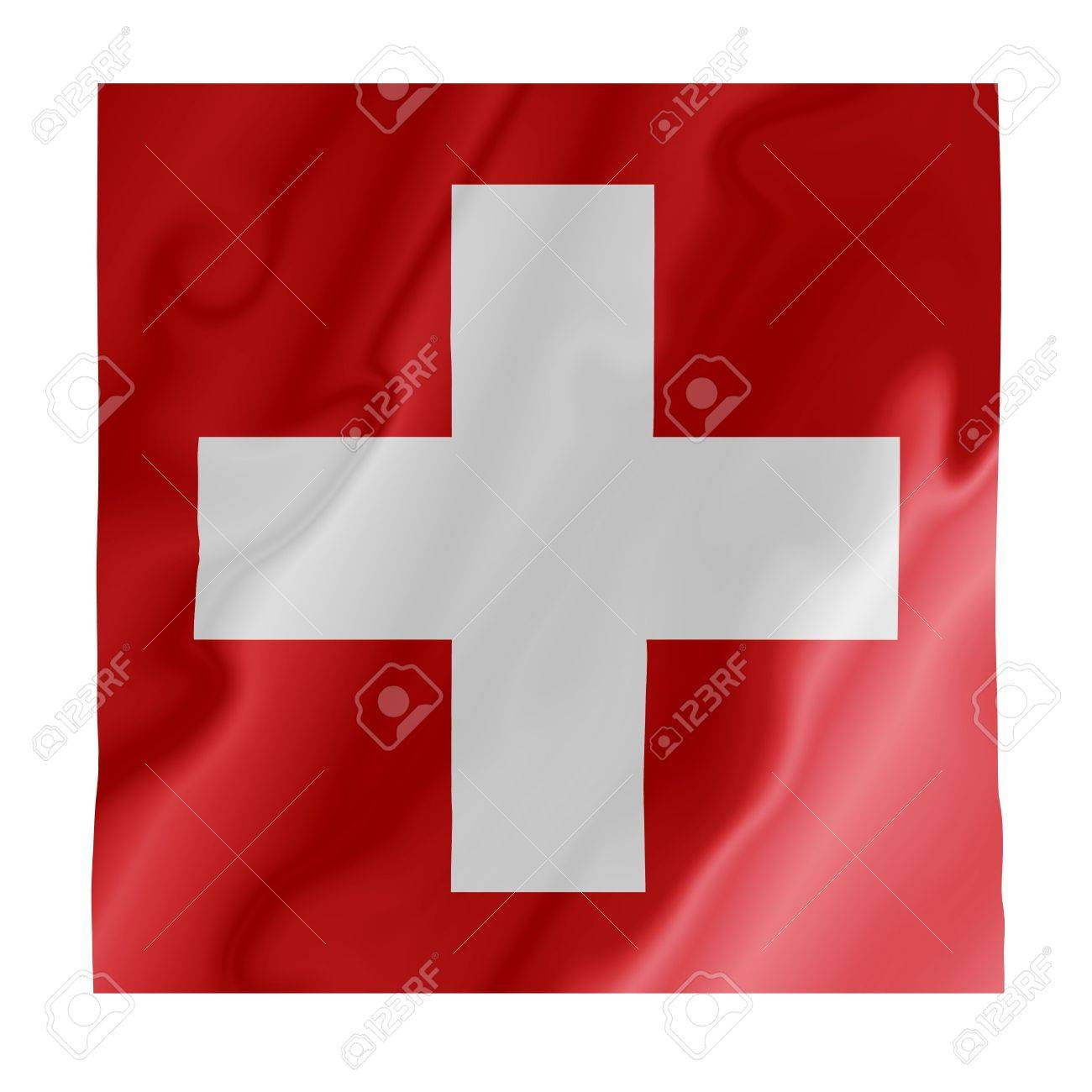 Fluttering image of the Swiss national flag Stock Photo - 2808462