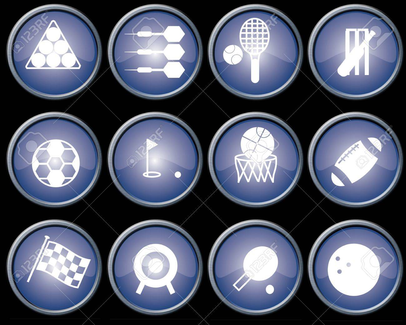 Assorted blue-glazed sports icons and buttons with brushed metal effect surrounds Stock Photo - 2820400