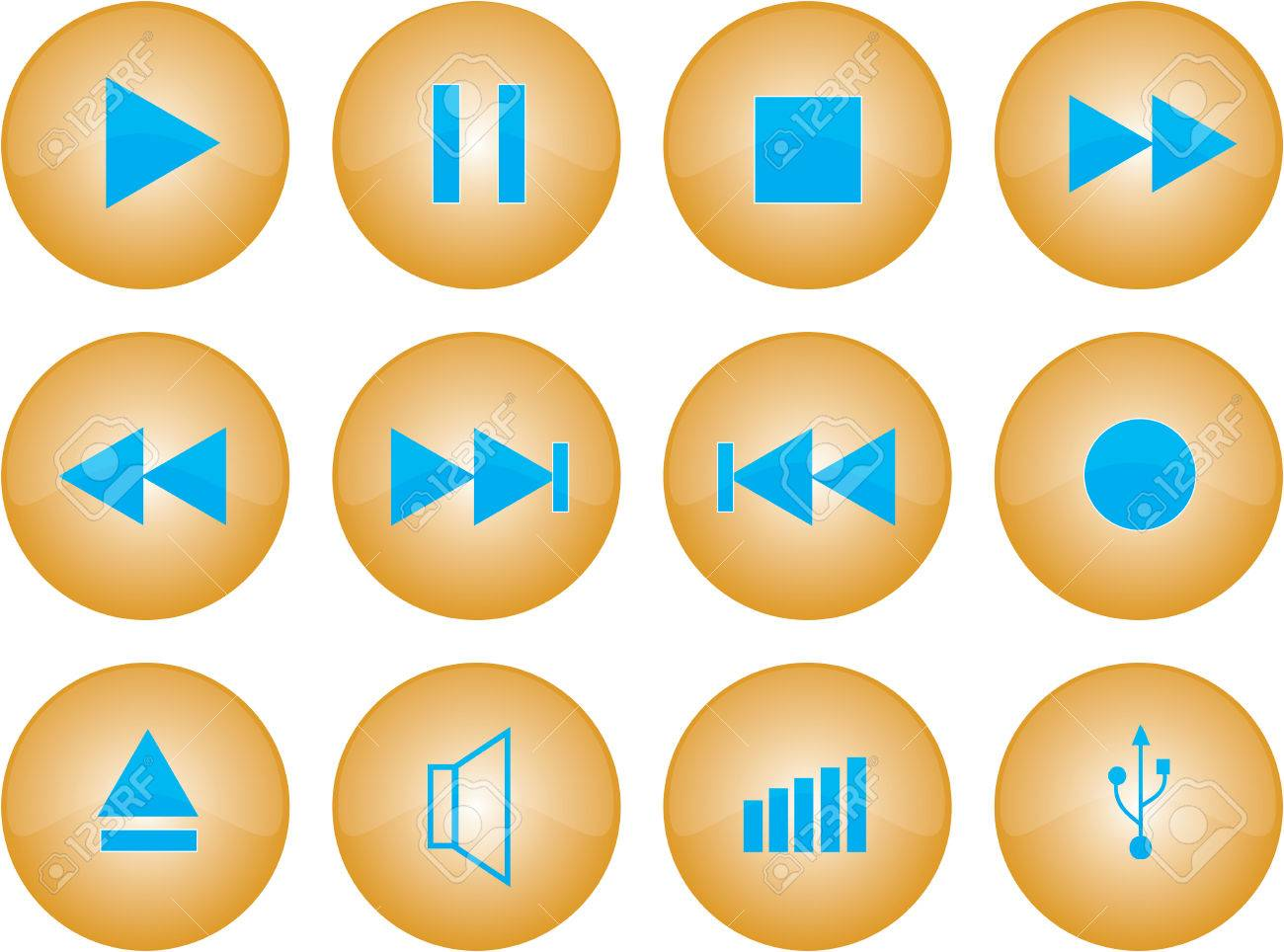 Vector graphic of stereo buttons with amber glaze Stock Vector - 2830837
