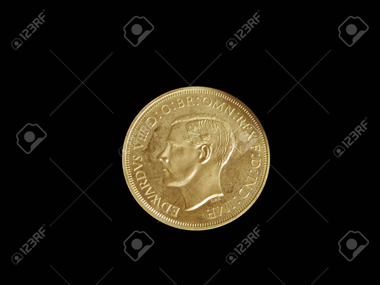 King Edward VIII coin isolated on a black background Stock Photo - 2830835