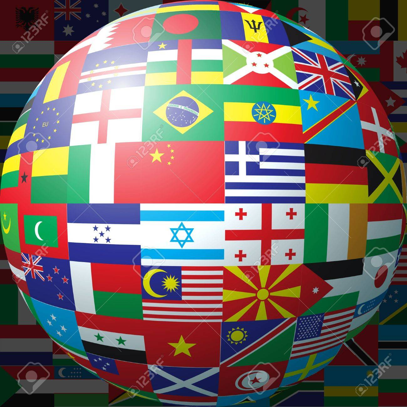 3D sphere made up of national flags Stock Photo - 2833694