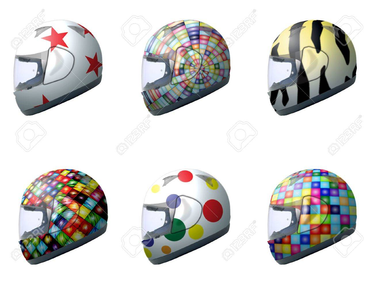 Motorcycle helmets with different designs 3 Stock Photo - 3032304