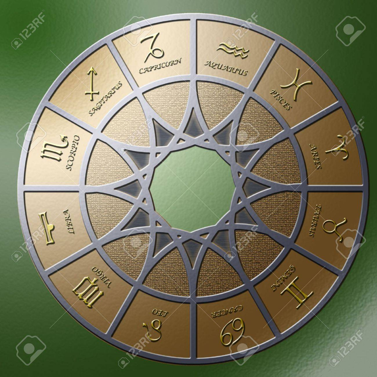 Illustration of a metal circle containing 12 embossed zodiac signs Stock Illustration - 3075313