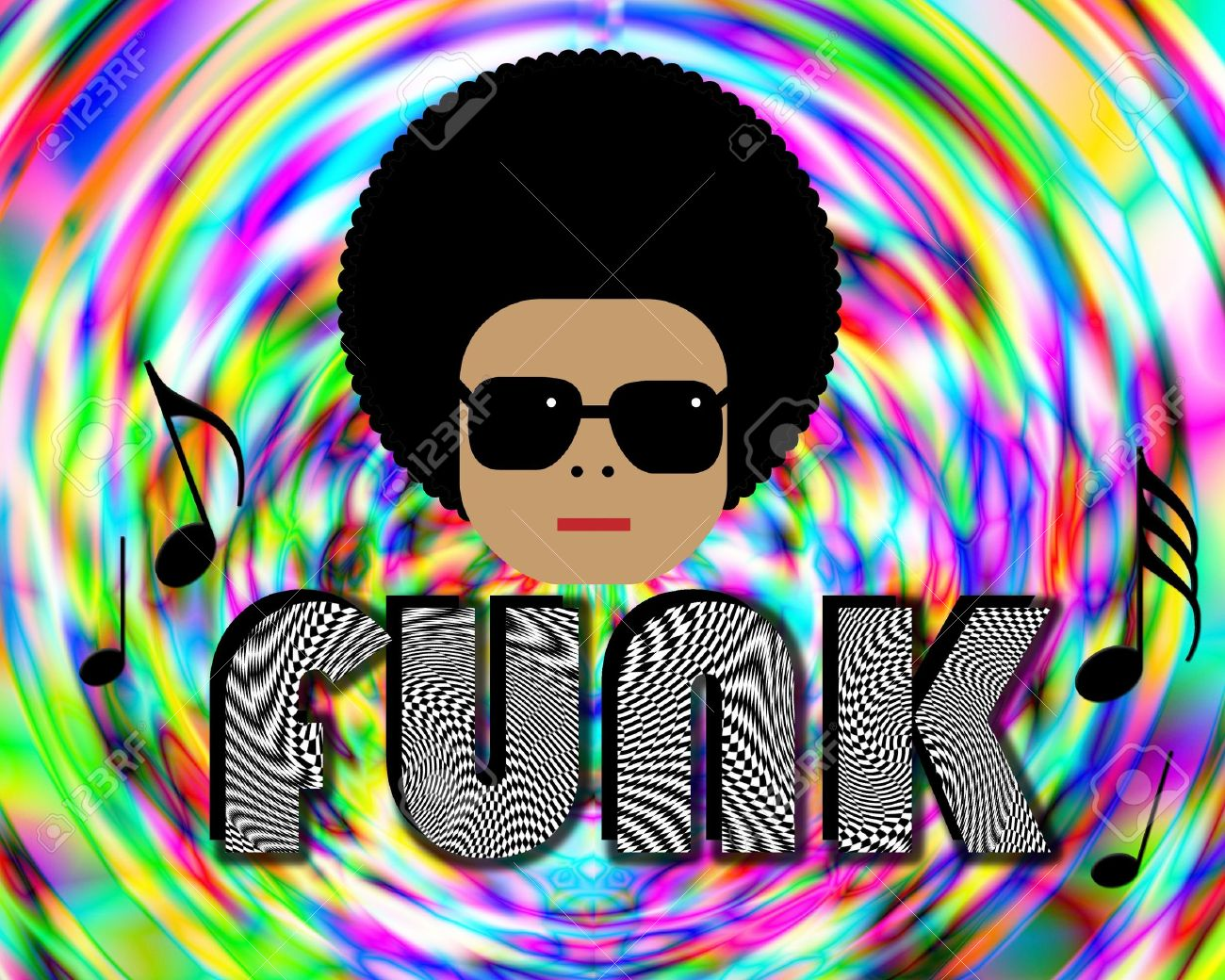 Illustration of retro funky character with FUNK lettering Stock Illustration - 7313280