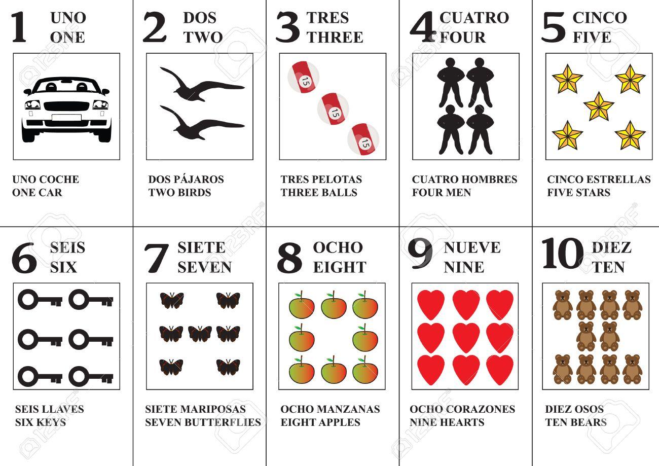 Vector Tarjetas De Memoria Flash De Español Para Aprender Los Números 1 10 En Inglés O Español Ilustraciones Vectoriales Clip Art Vectorizado Libre De Derechos Image 53302176