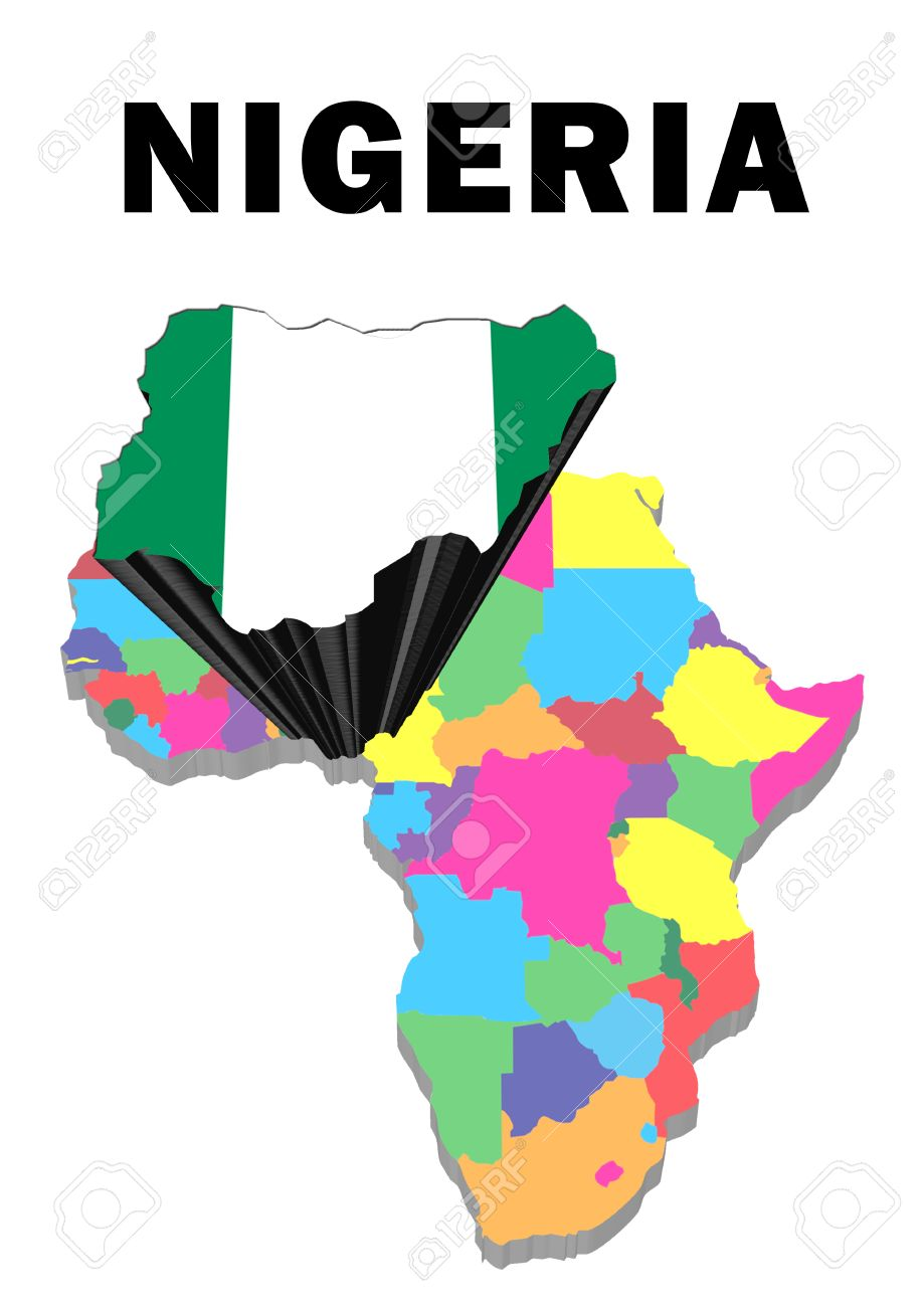 Outline Map Of Africa With Nigeria Raised And Highlighted With ...