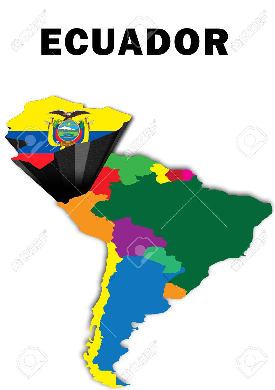 Outline Map Of South America With Ecuador Raised And Highlighted - South america map and flags