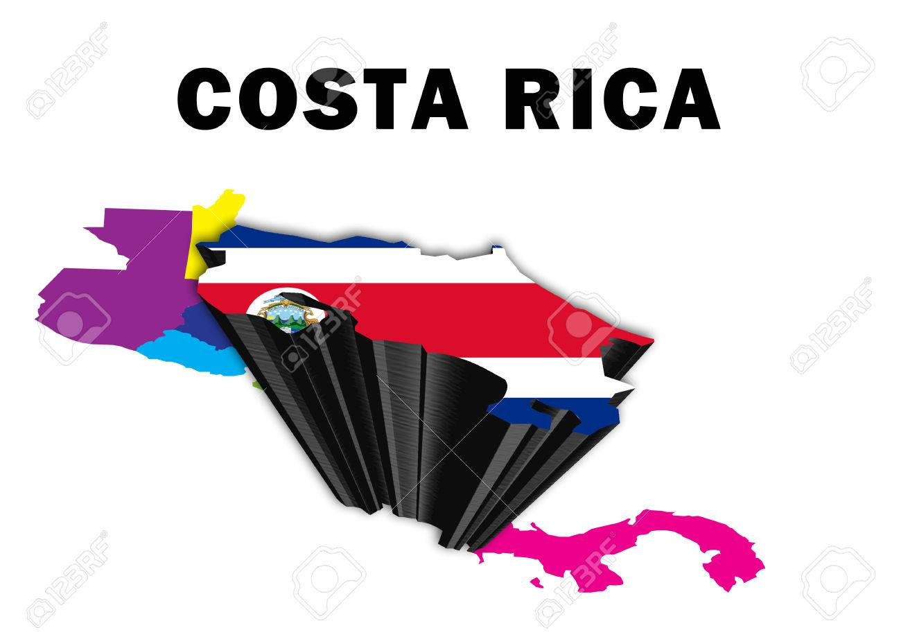 Outline Map Of Central America With Costa Rica Raised And Highlighted Stock Photo Picture And Royalty Free Image Image 54895877