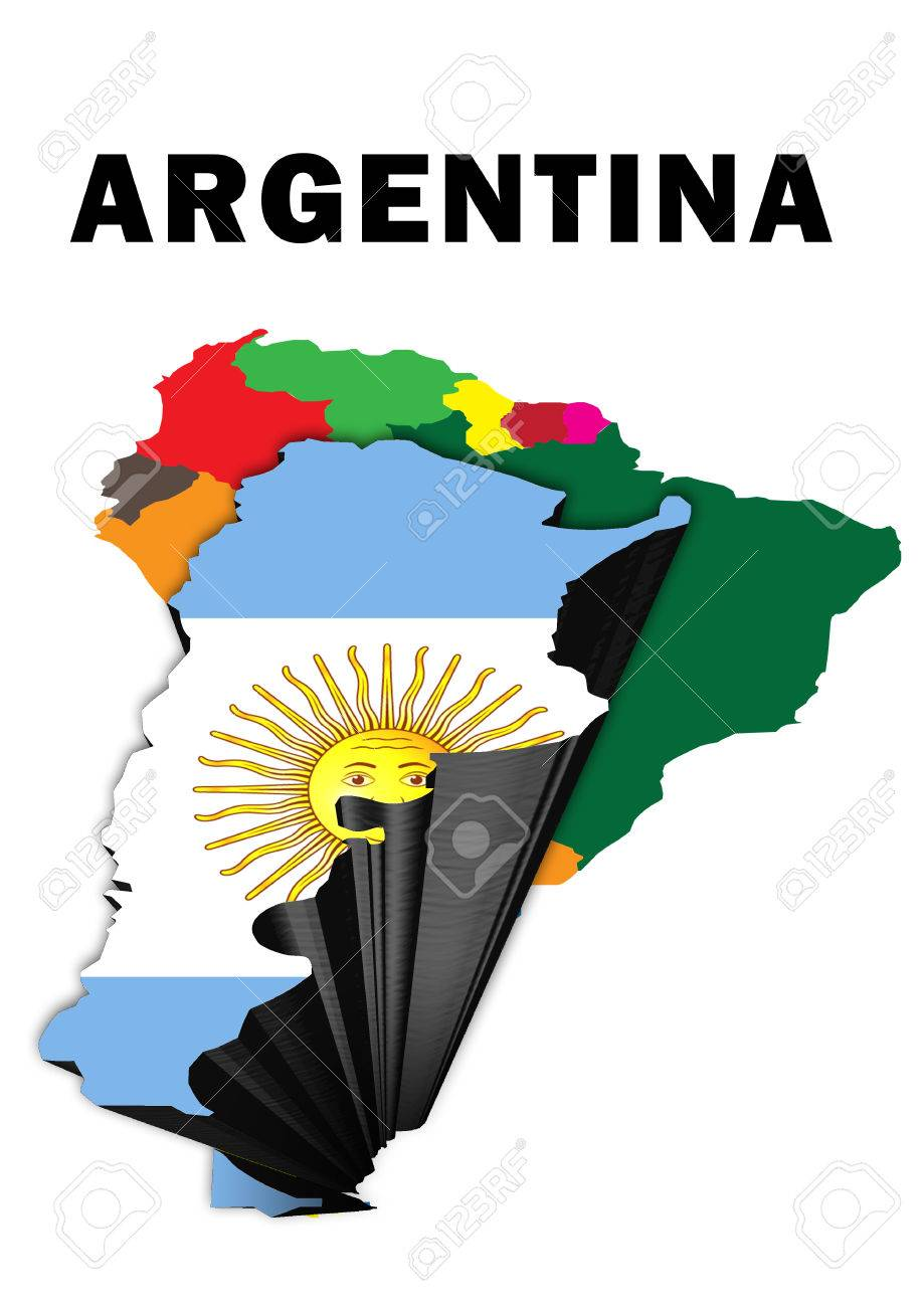 Outline Map Of South America With Argentina Raised And Highlighted - South america argentina map
