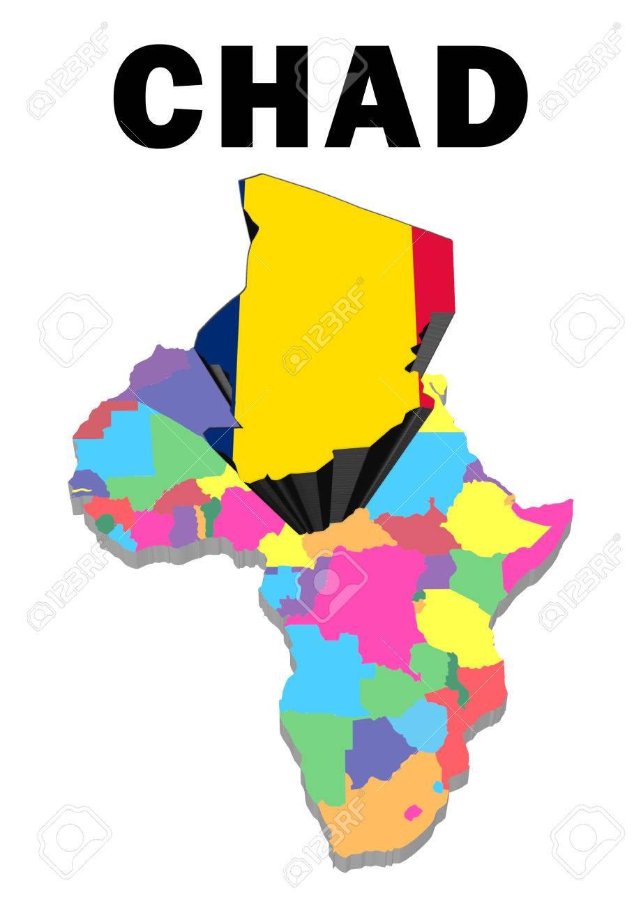 Carte De Lafrique Tchad.Carte Muette De L Afrique Avec Le Tchad A Souleve Et Mis En Evidence Avec Le Drapeau National