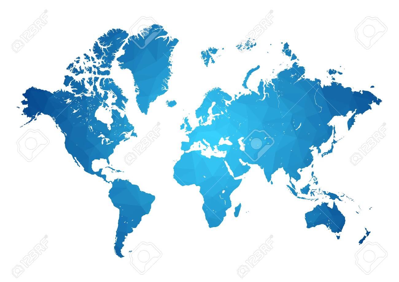 vectors World Map polygonal precision low-poly blue - 137756220