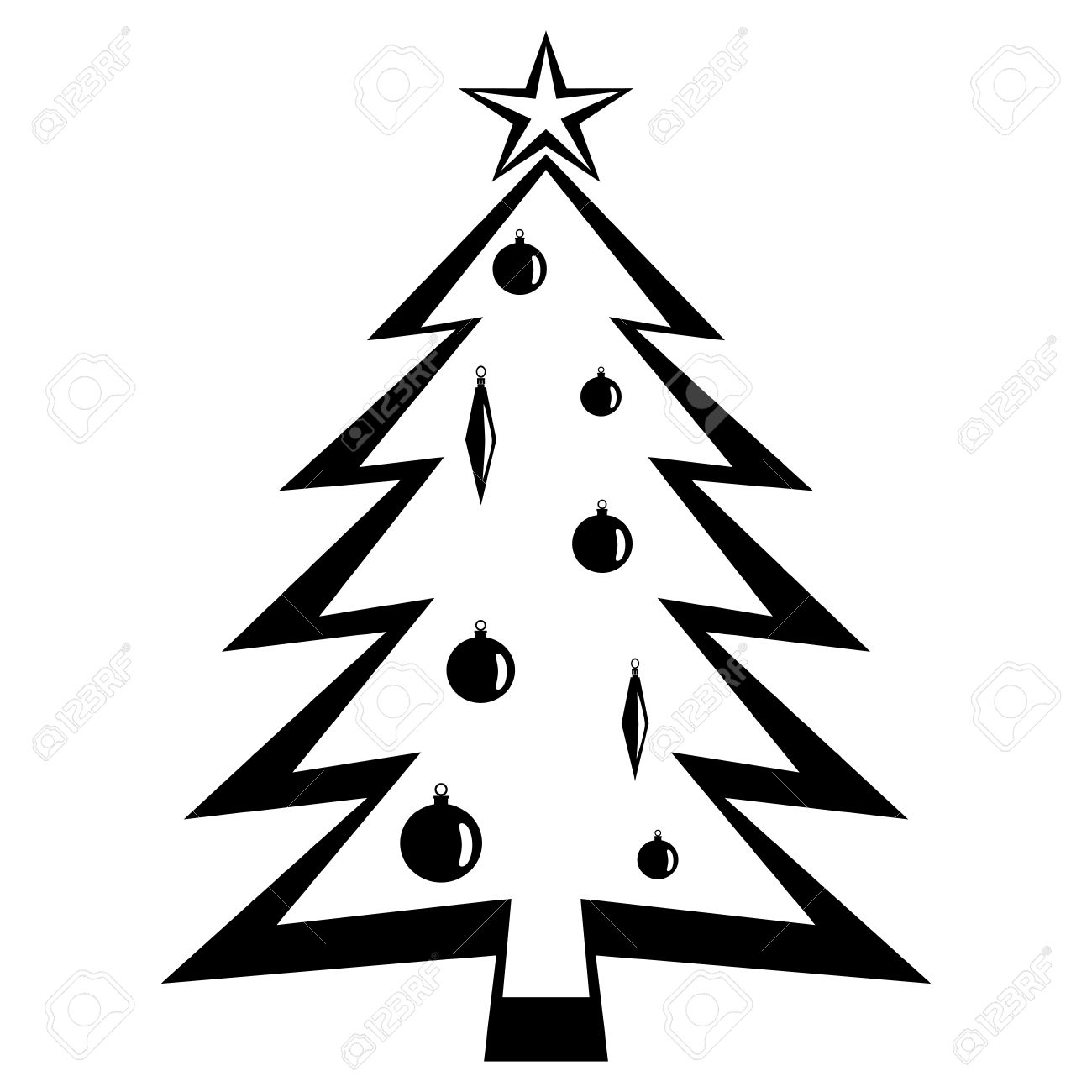 christmas tree black vector illustration royalty free cliparts