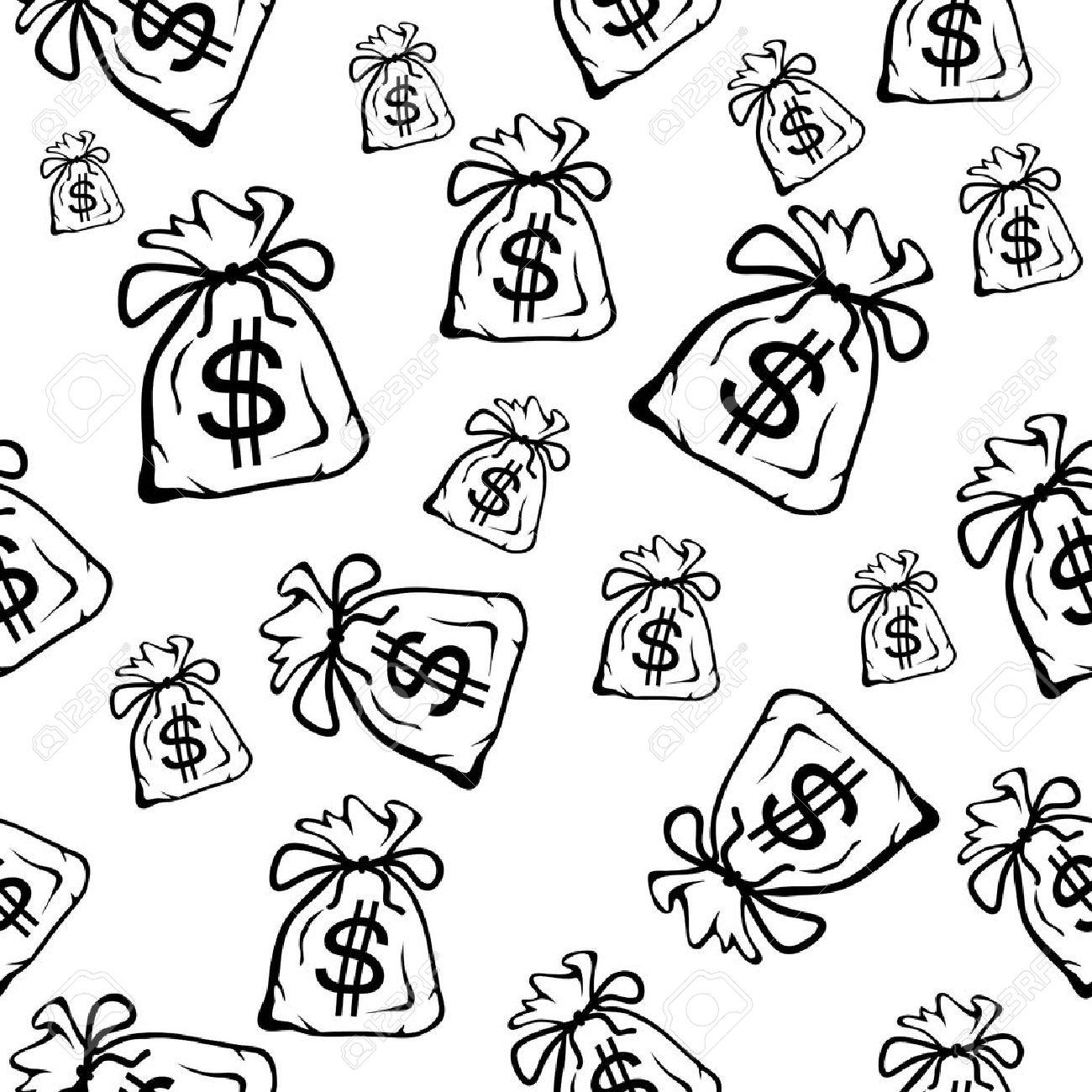 Money Bag Black And White Money Bag Black And White