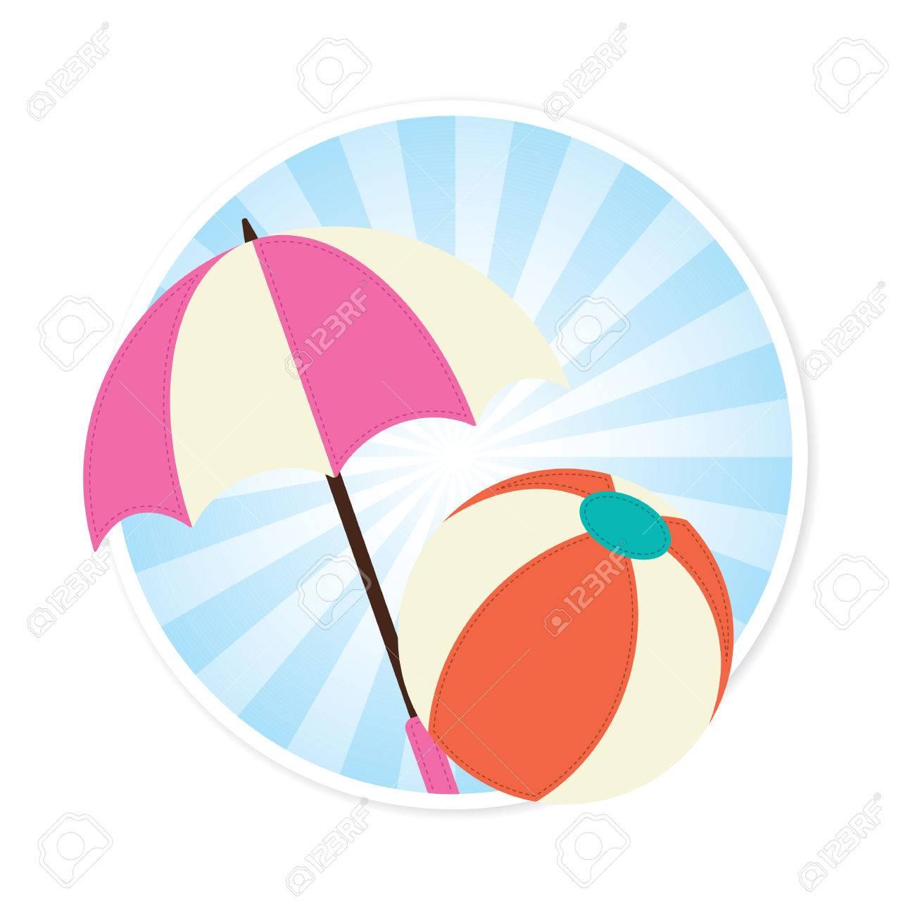 Beach Ball And Sun Umbrella Illustration Royalty Free Cliparts