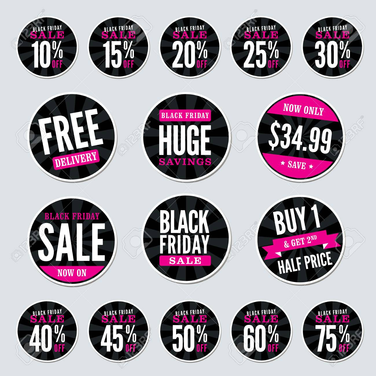 Black friday retail stickers stock vector 39305934