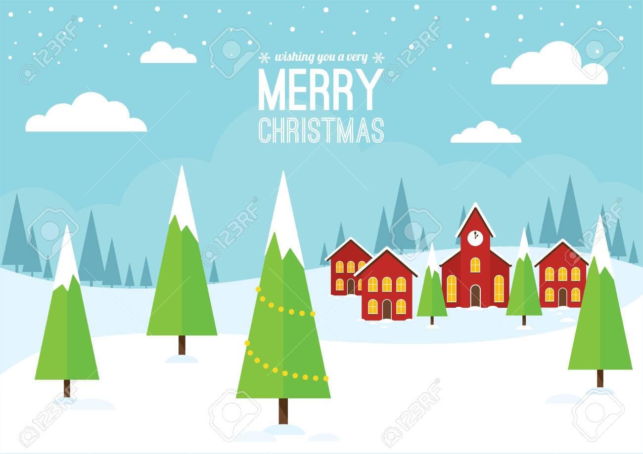 Eine Weihnachts-Szene Mit Häusern Und Einer Kirche. Lizenzfrei ...