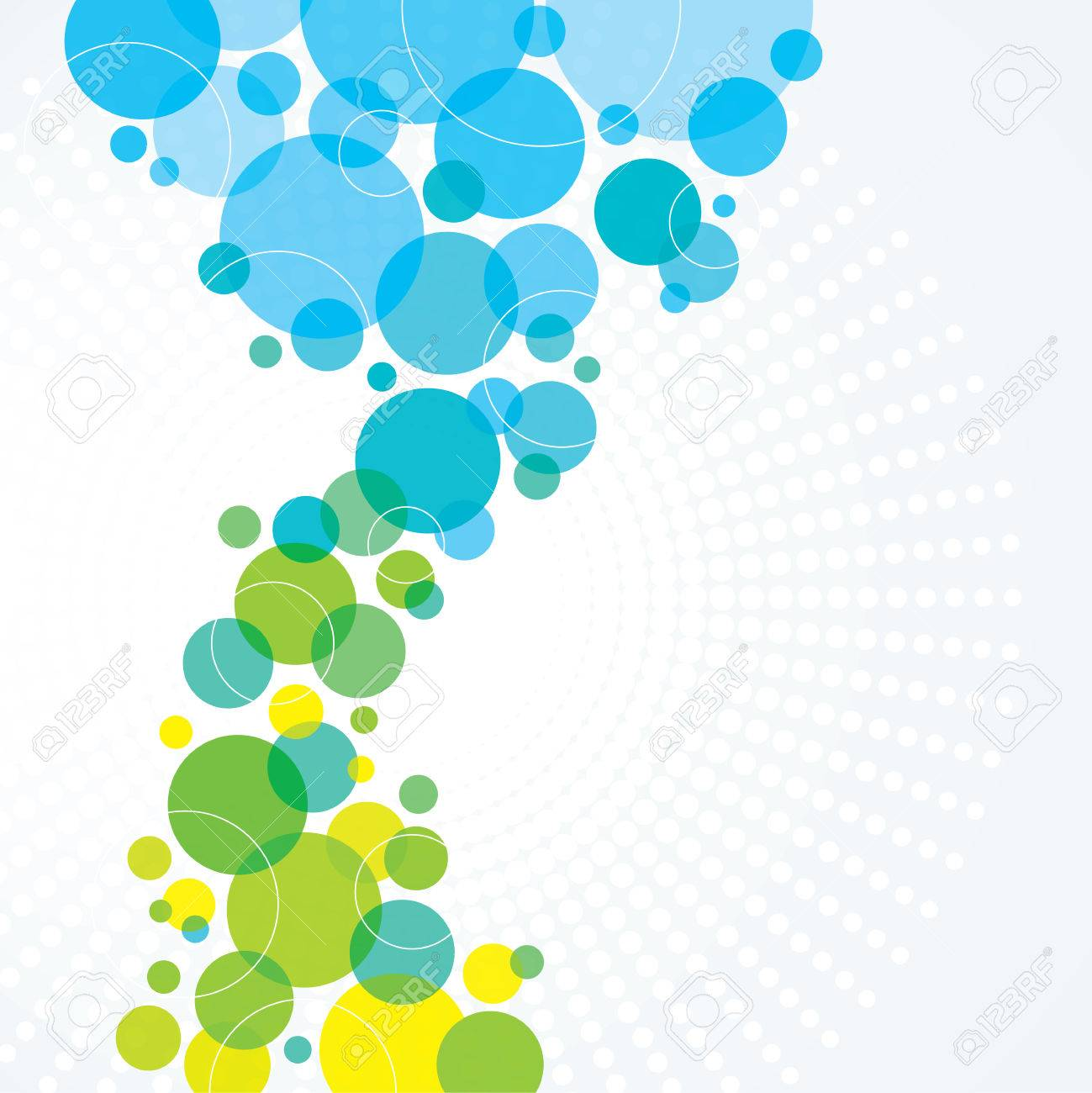 A Blue And Green Abstract Background Design With Circles