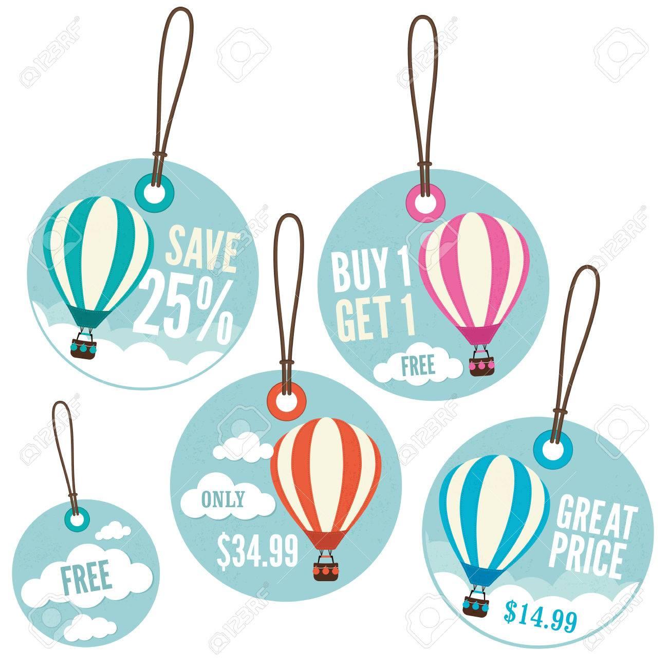 c4d35c67dea2c A set of retail price tags with a hot air balloon theme Stock Vector -  56985520