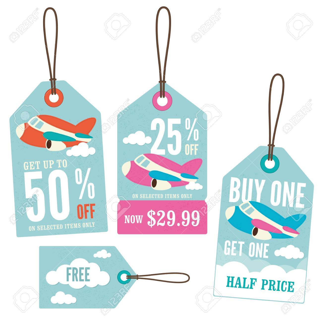 a1e4ebc43faf2 A Set Of Retail Price Tags With A Plane Theme Royalty Free Cliparts ...