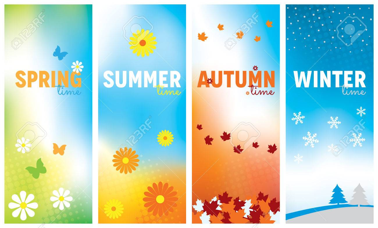 A set of seasonal banners for Spring, Summer, Autumn and Winter - 59195450