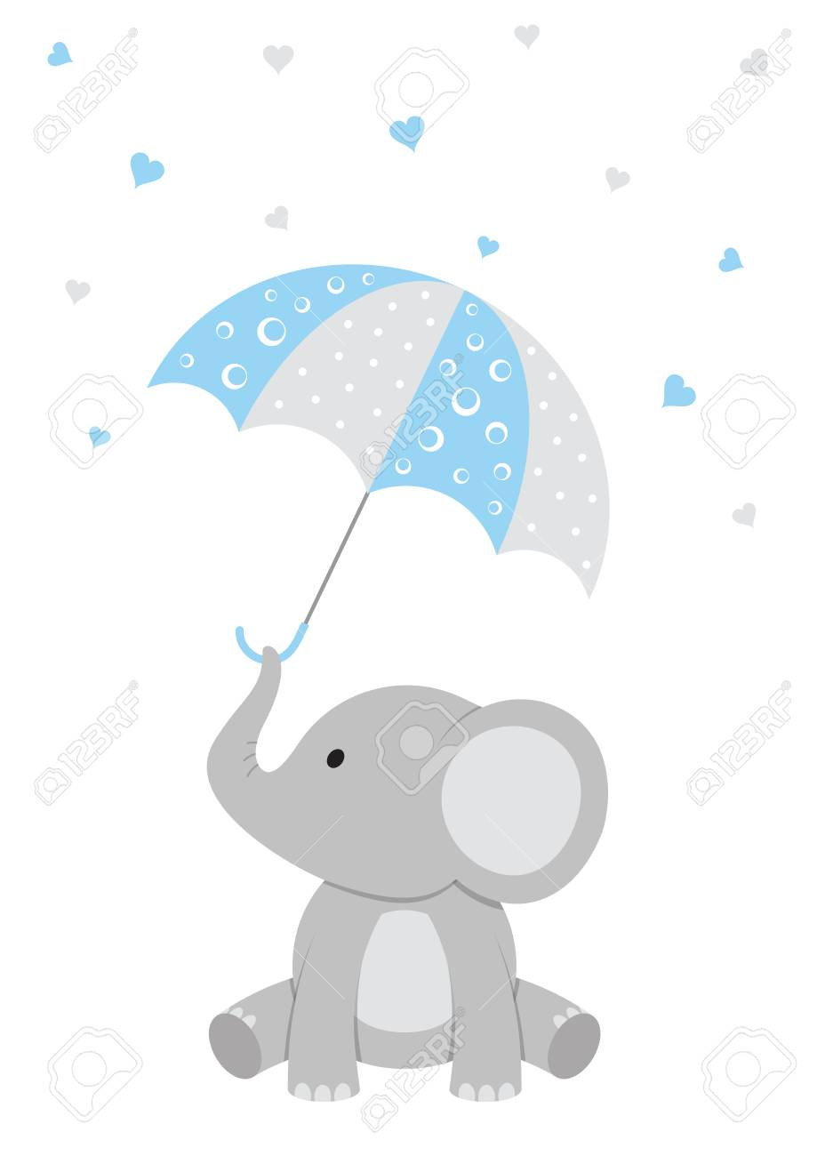 Baby Shower illustration of a baby elephant with a pink umbrella and falling hearts. - 83922202