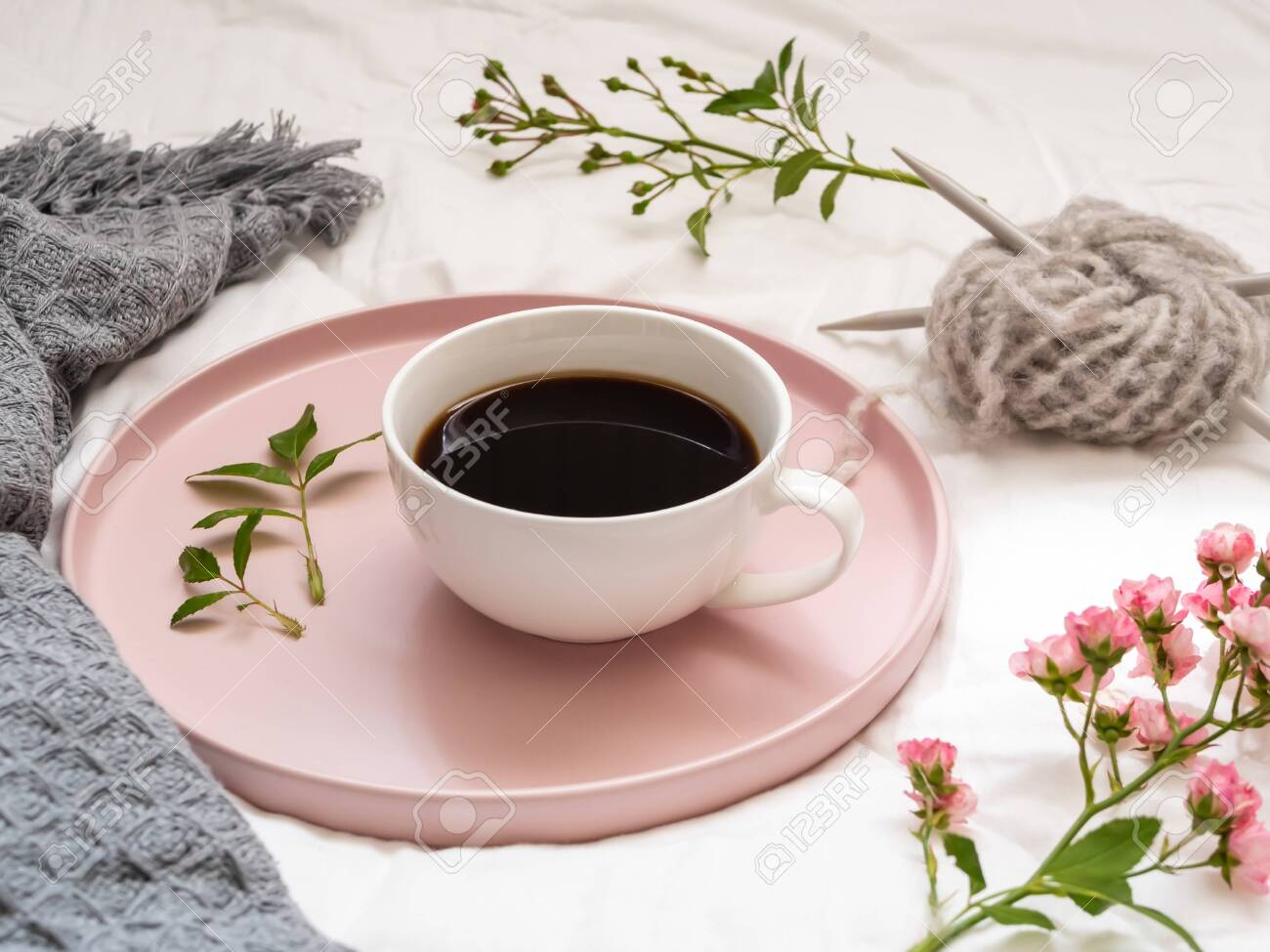 Coffee On A Serving Tray On A Bed Stock Photo Picture And Royalty Free Image Image 135305693