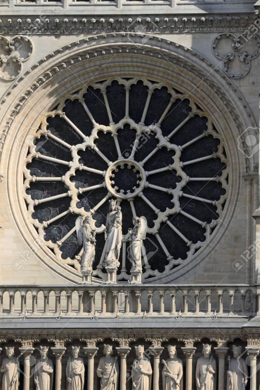Notre Dame Rose Window Stock Photo