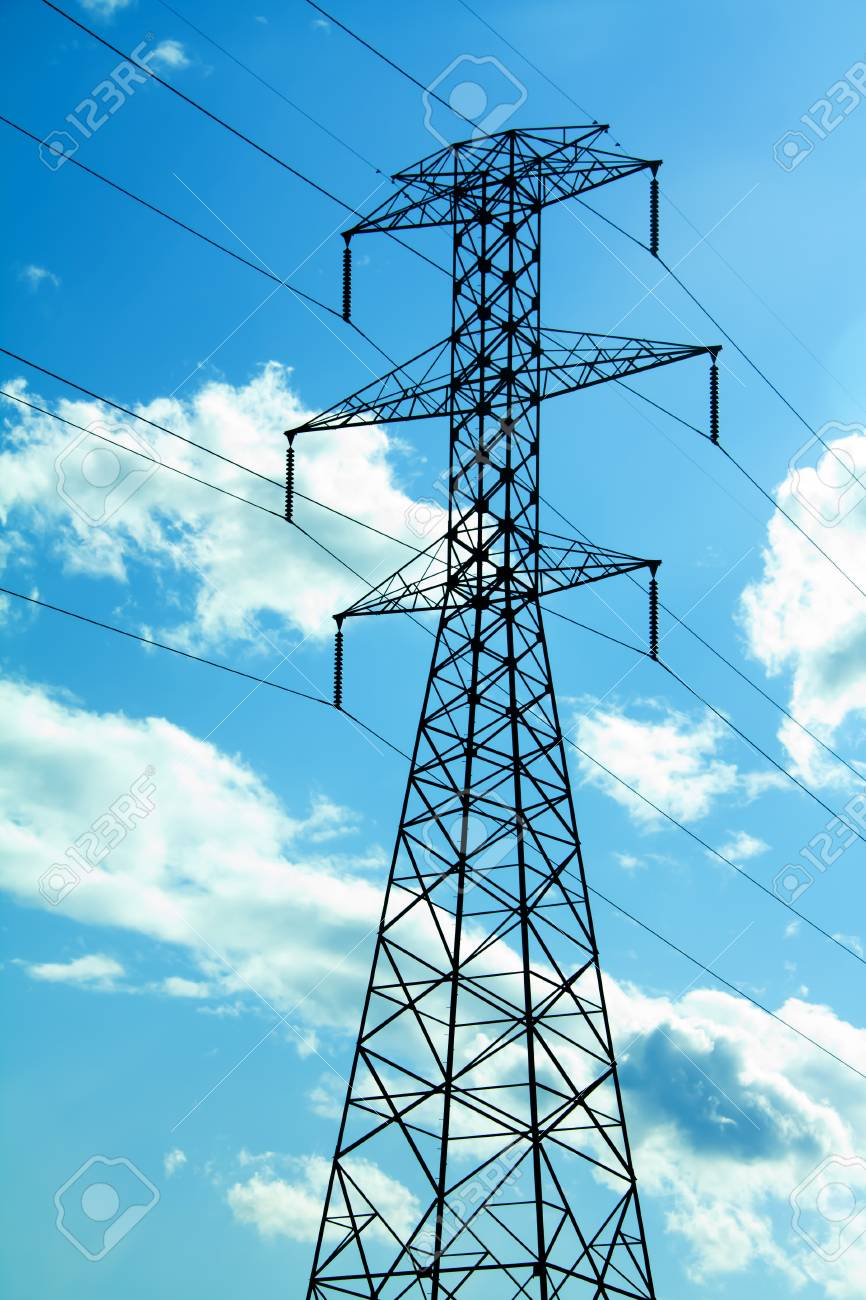 power lines against a blue sky with clouds Stock Photo - 14264941