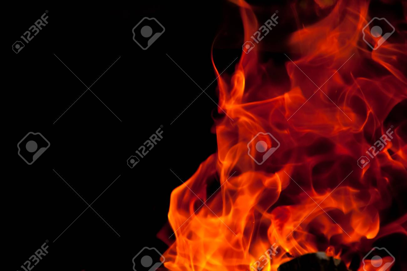 Flames against a black background Stock Photo - 14627980