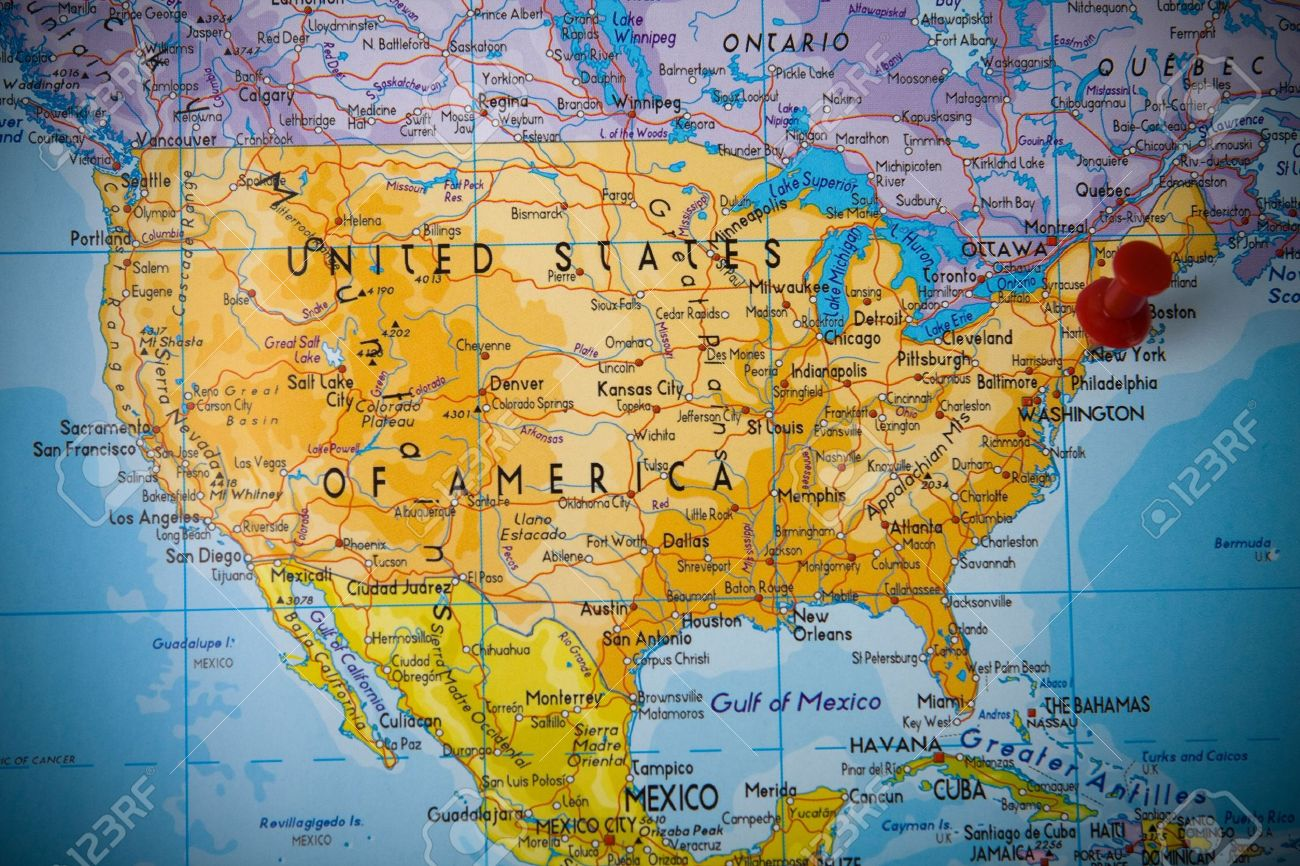 United States Map New York.Small Pin Pointing On New York In Map Of United States Of America