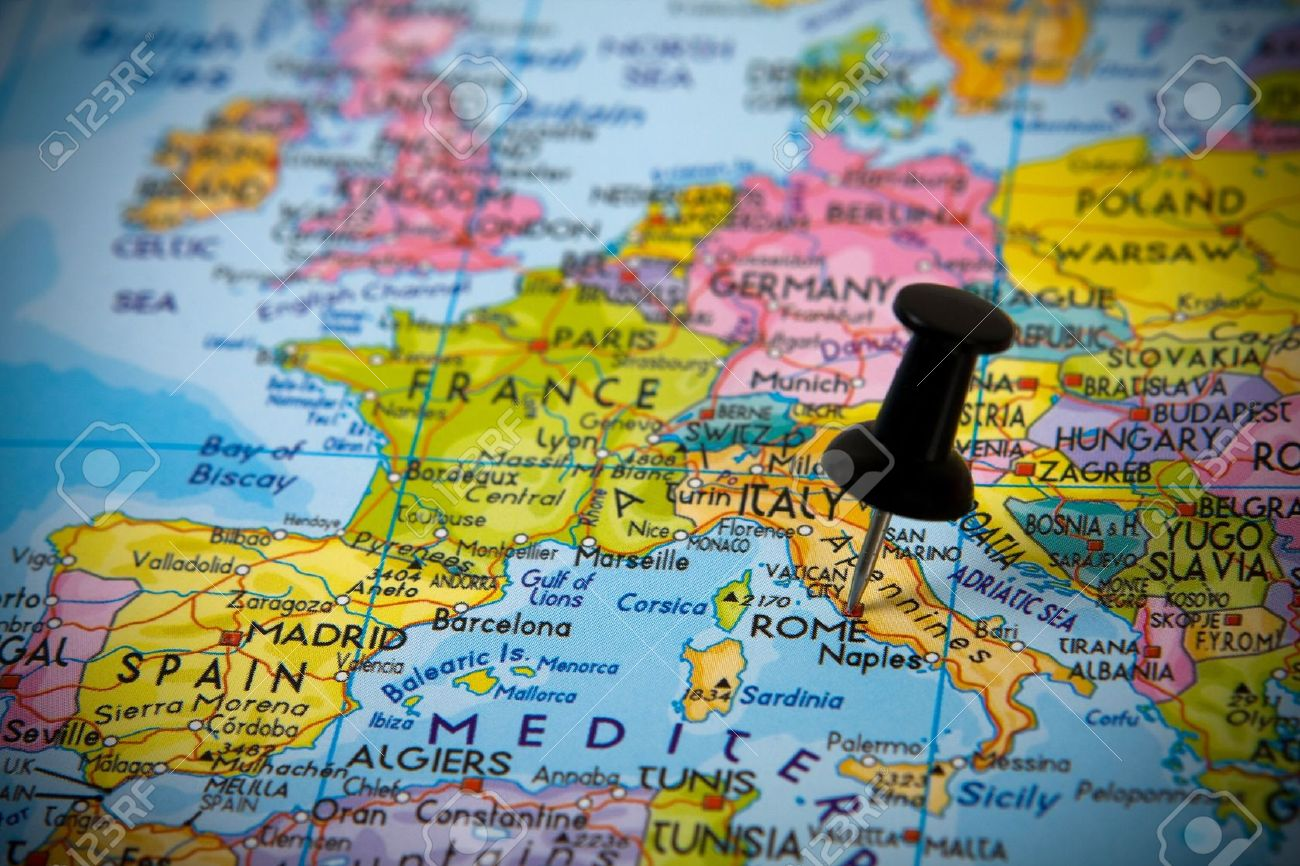 Small Pin Pointing On Rome Italy In A Map Of Europe Stock Photo