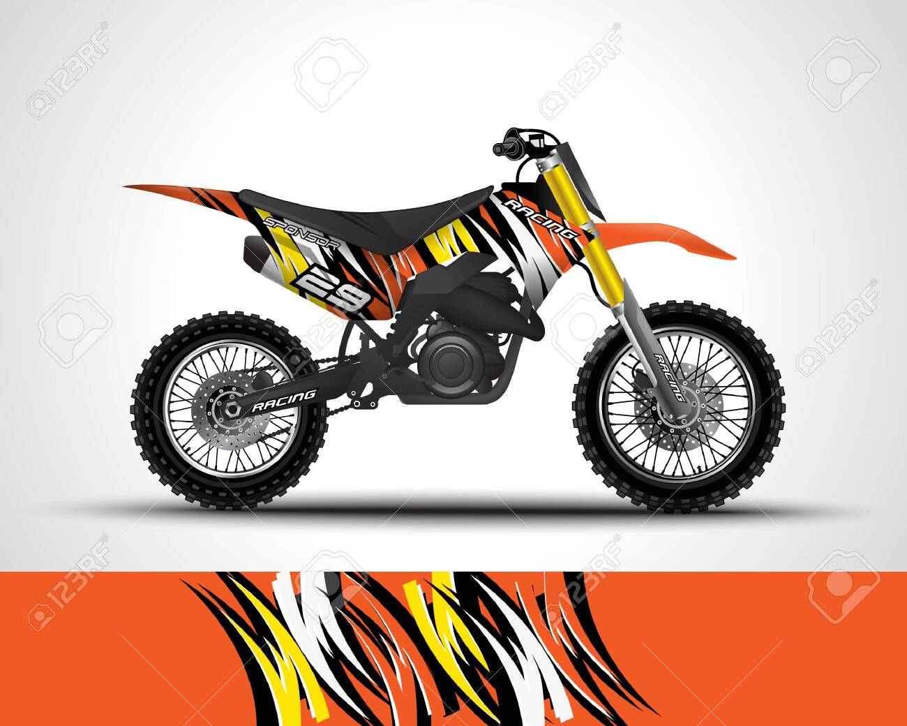 Motocross Wrap Decal And Vinyl Sticker Design Royalty Free Cliparts Vectors And Stock Illustration Image 146274896